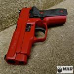 Sig P228 in Cerakote Crimson & MAD Black
