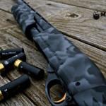 Remington 870 in 3 color MAD Edge Camo w/ gold trigger