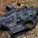 MAD Grunge Camo on an AR15 in MAD Black, Burnt Bronze & Highland Green Cerakote