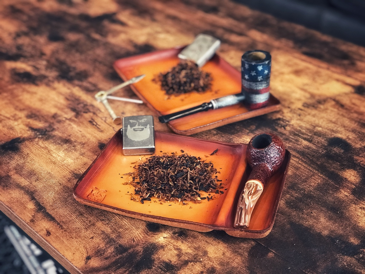 leather pipe tobacco tray, mad label industries, mad beard